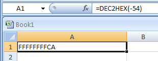 DEC2HEX(number, Number_of_characters_to_use) converts a decimal number to hexadecimal