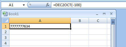DEC2OCT(number, number_of characters_to_use) converts a decimal number to octal