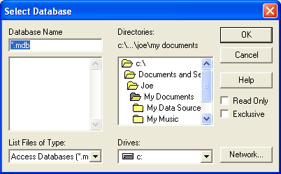 Navigate to the folder with the database you want to use, and then click OK.