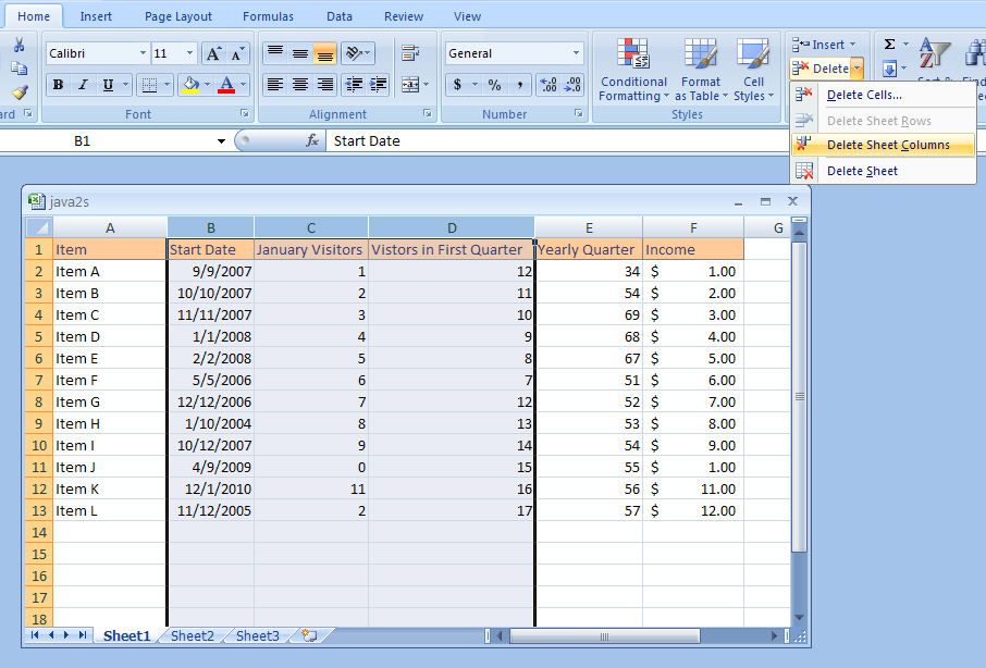 Click The Home Tab Delete Cells Button Then Sheet Columns: Excel Worksheet Columns At Alzheimers-prions.com