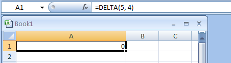 DELTA(number1,number2) tests whether two values are equal, returns 1 if number1 = number2; returns 0 otherwise.
