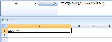 how to get current time in excel formula