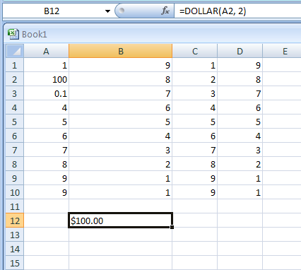 Input the formula: =DOLLAR(A2, 2)