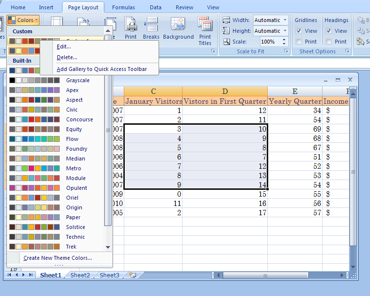 ... color theme : Theme Color « Format Style « Microsoft Office Excel