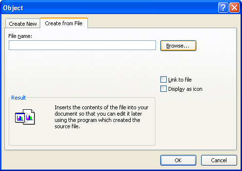 Click the Create from File tab. Click Browse, locate and select the file, and then click Open.