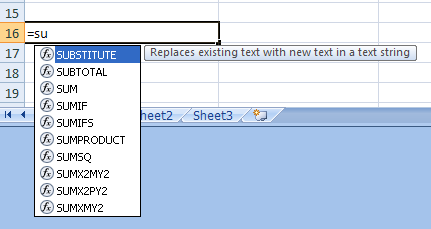 Enter Items in a Formula Using Formula AutoComplete