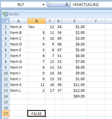 EXACT(text1,text2) checks to see if two text values are identical