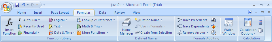 Excel provides three types of tabs on the Ribbon