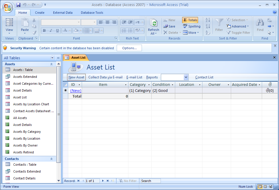 Start Microsoft Office Access 2007. Open a database, and then display