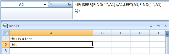 Input the formula: =IF(ISERR(FIND