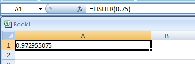 Input the formula: =FISHER(0.75)