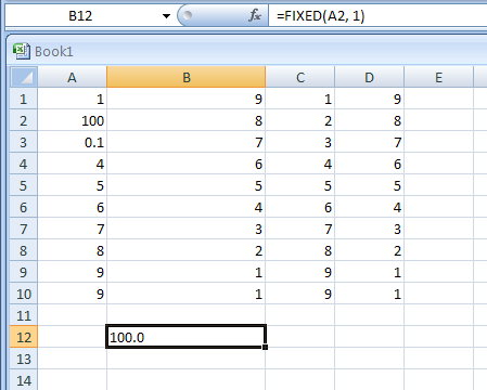 FIXED(number,decimals,no_commas) formats a number as text with a fixed number of decimals