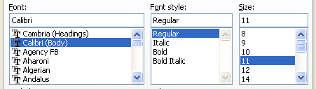 Select the font, font style, and font size. Select or clear the effects: Strikethrough, Superscript, and Subscript.