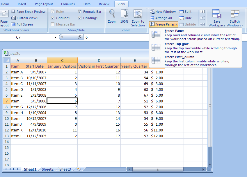 Excel Freeze And Unfreeze A Column Or Row