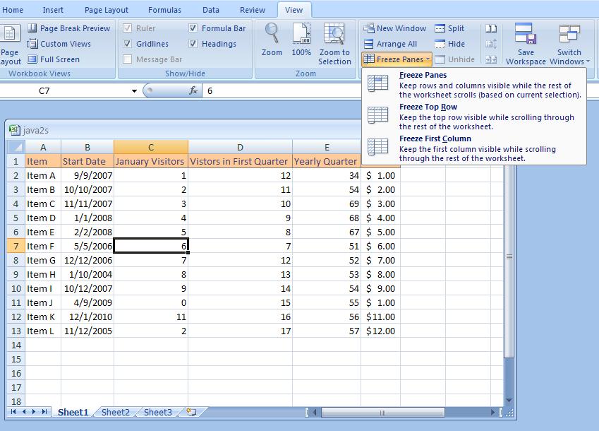 Freeze and Unfreeze a Column or Row : Freeze « Workbook Worksheet ...