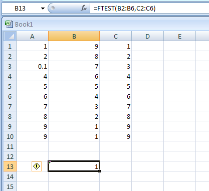 how to read f test results excel