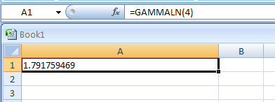 GAMMALN(x) returns the natural logarithm of the gamma function, G(x)