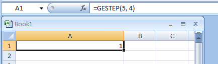 GESTEP(number,step)  returns 1 if number >= step; returns 0 (zero) otherwise.