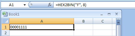 HEX2BIN(number, Number_of_characters_to_use) converts a hexadecimal number to binary