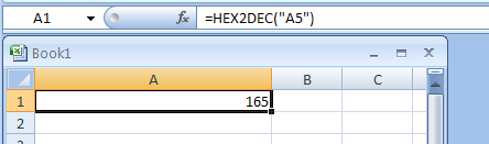 Input the formula: =HEX2DEC
