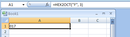 HEX2OCT(number, Number_of_characters_to_use) converts a hexadecimal number to octal