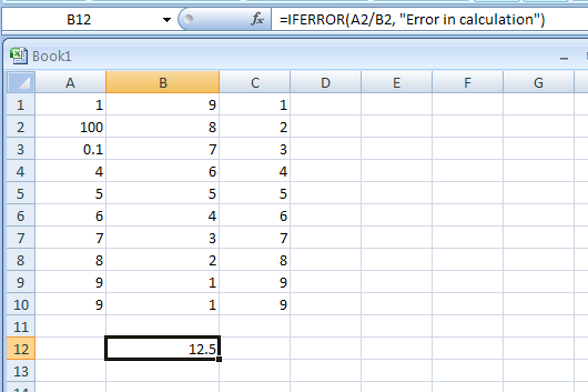IFERROR(value,value_if_error) returns a value in case of an error; otherwise, returns the result of the formula