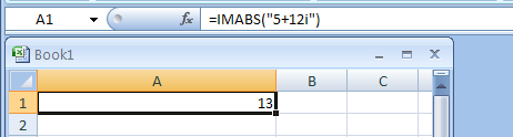 IMABS returns the absolute value (modulus) of a complex number
