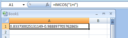 IMCOS returns the cosine of a complex number