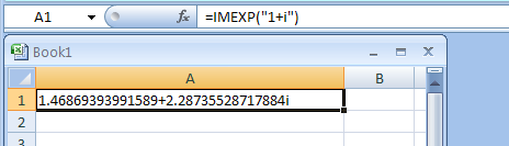 IMEXP returns the exponential of a complex number