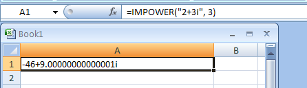 IMPOWER(complex_number, power) returns a complex number raised to an integer power