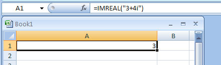 IMREAL returns the real coefficient of a complex number