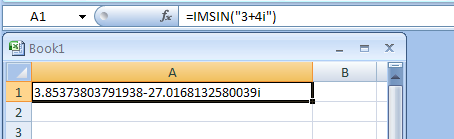IMSIN returns the sine of a complex number