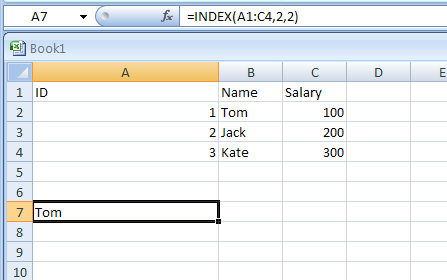 INDEX Uses an index to choose a value from a reference or array