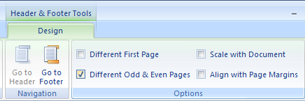 Select Different Odd & Even Pages to have different header or footer for odd and even pages.