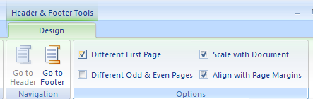 Select or clear Different First Page to add or  remove headers and footer from the first page.