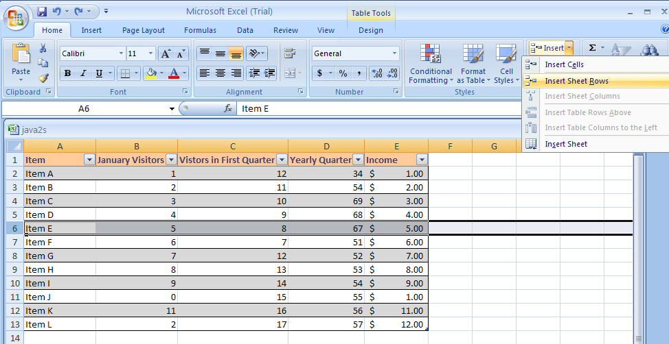 Excel insert a row or column - How to add a column in a table ...