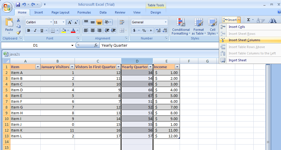 Insert a row or column table row column table for Html table row