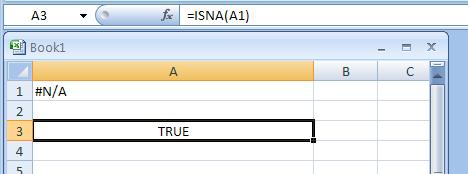 Input the formula: =ISNA(A1)
