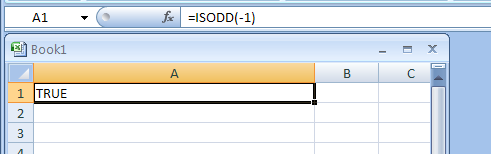 ISODD(number) returns TRUE if the number is odd
