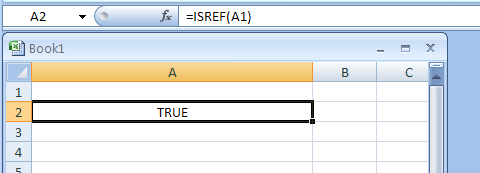 ISREF returns TRUE if the value is a reference