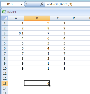 LARGE(array, Position_from_the_largest) returns the k-th largest value in a data set