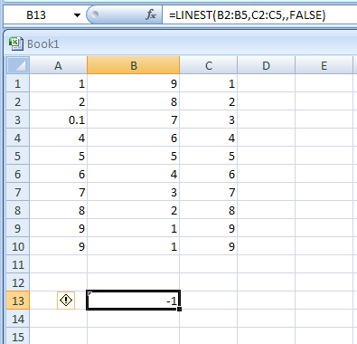 LINEST(y,x,const,stats) returns the parameters of a linear trend