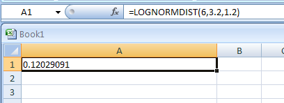 Input the formula: =LOGNORMDIST(6,3.2,1.2)