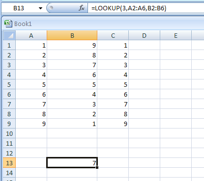 LOOKUP looks up values from a one-row or one-column range or an array