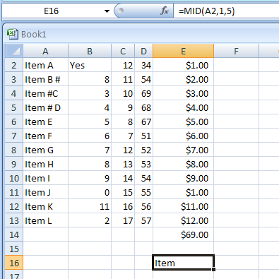MID(text,start_num,num_chars), MIDB(text,start_num,num_bytes) returns a specific number of characters from a text string starting at the position