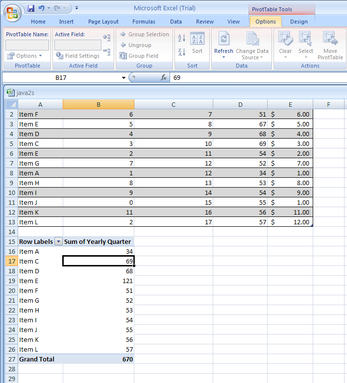 Modify a PivotTable Report