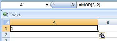 MOD(number,divisor) returns the remainder from division