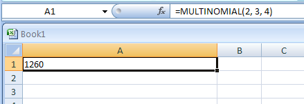 MULTINOMIAL(number1,number2, ...) returns the multinomial of numbers