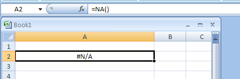 NA returns the error value #N/A