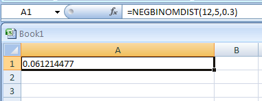 NEGBINOMDIST(Number_of_failures, Threshold_number_of_successes, Probability_of a_success) returns the negative binomial distribution